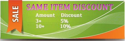 Save 5% after 3 same items and 10% after 10 same items